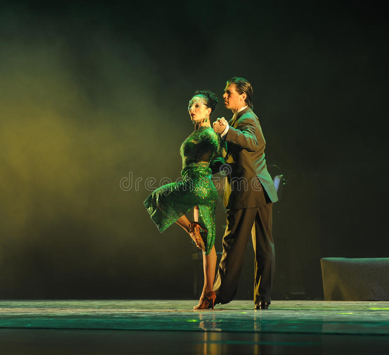 Overlooking the-the identity of the mystery-Tango Dance Drama. Fernanda Ghi and Guillermo Merlo is Argentina's most famous tango dancer, is also a famous stock image