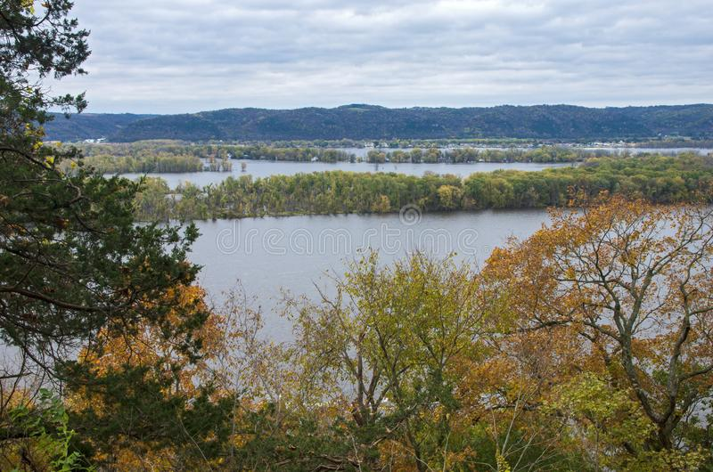 Overlooking Mississippi River From Effigy Mounds. National monument in iowa and wisconsin in distance stock image