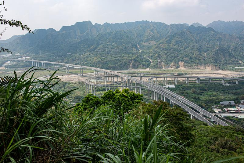 Overlooking the most beautiful intersection on Highway 6 from a height. The sixth expressway in Taiwan is located at the intersection of Guoxing Township, Nantou royalty free stock image