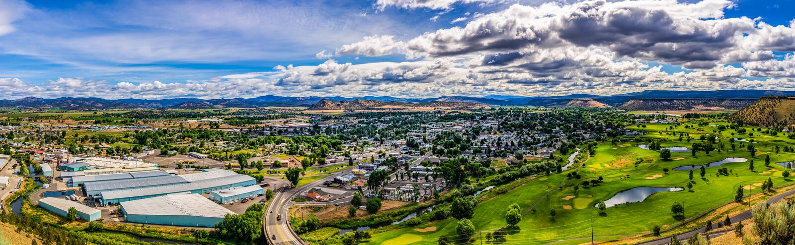 Overlooking panoramic view at Prineville. City from Ochoco State scenic viewpoint, Oregon, USA stock photo