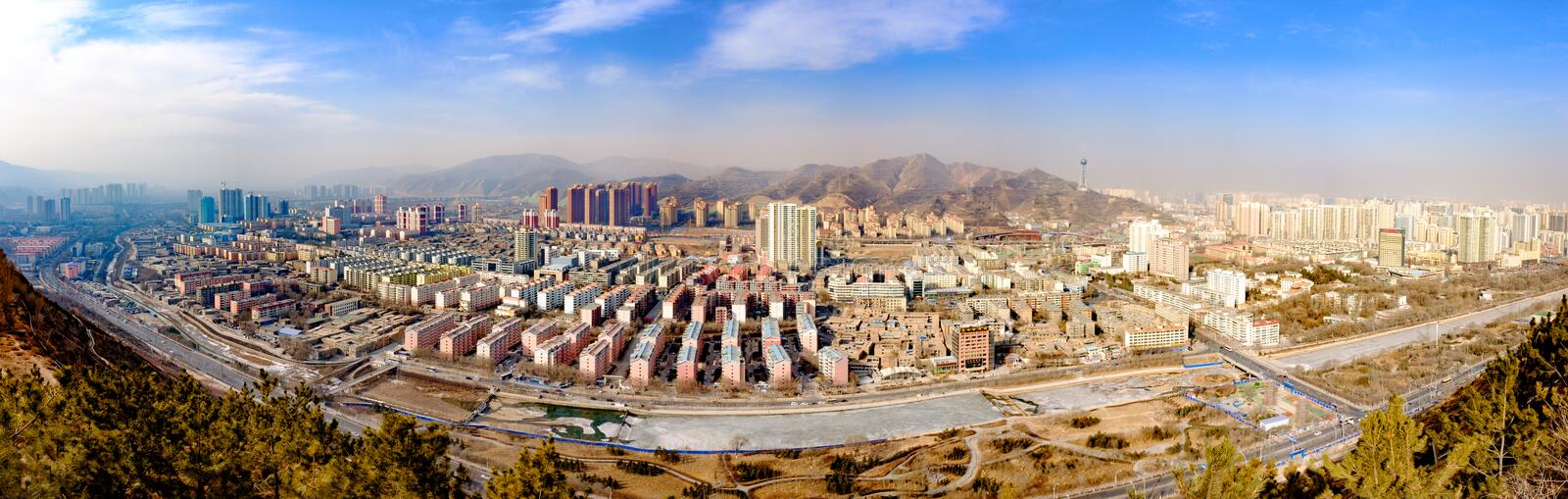 Overlooking the Plateau Pearl - Qinghai, Xining. 。 Xining is a city with a history of more than 2 thousand and 100 years of ancient plateau, called Xiping royalty free stock image