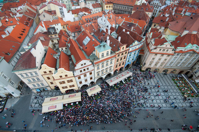 Overlooking Prague Town Center from the Clock Tower stock photos