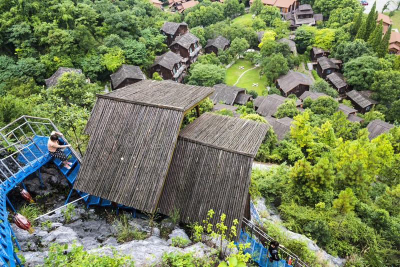 Overlooking Red lantern Rural homes royalty free stock images