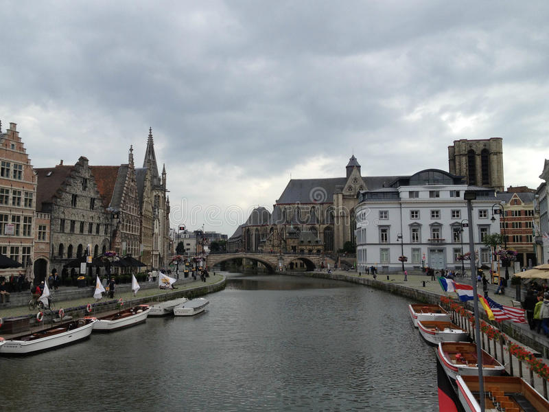 Overlooking River in Ghent, Belgium. Shot from One of the Many Bridges stock images