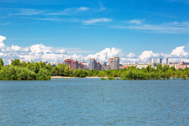 Overlooking the river Ob and the Novosibirsk side Bugrinskij the. Novosibirsk, Siberia, Russia - July 17, 2017: a view of the river Ob and the Novosibirsk side royalty free stock photo