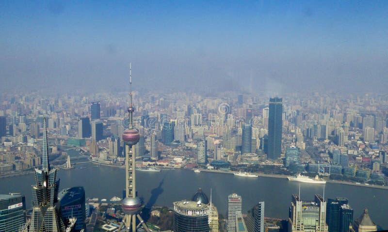 Overlooking Shanghai city stock photos
