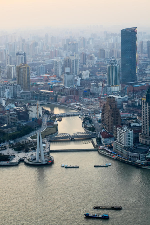 Download Overlooking Shanghai At Dusk Stock Image - Image: 24222961
