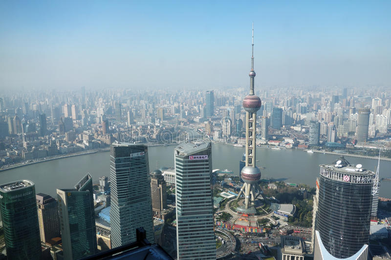 Overlooking Shanghai Lujiazui with oriental pearl tv tower. Shanghai Lujiazui business and financial center stock image