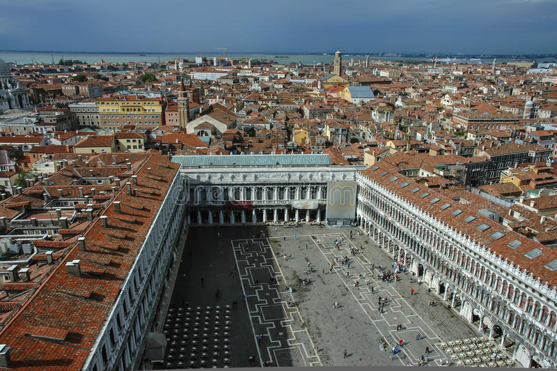 Overlooking St. Mark's Square in Venice from above royalty free stock images