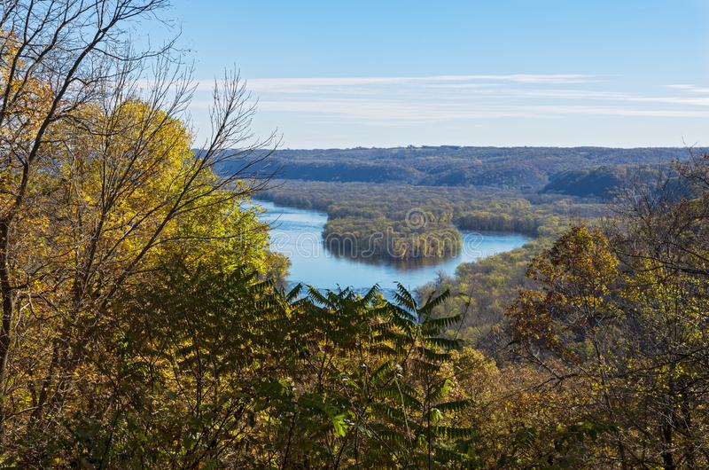 Overlooking Wisconsin River at Wyalusing. Wyalusing state park atop bluff overlooking wisconsin river stock images