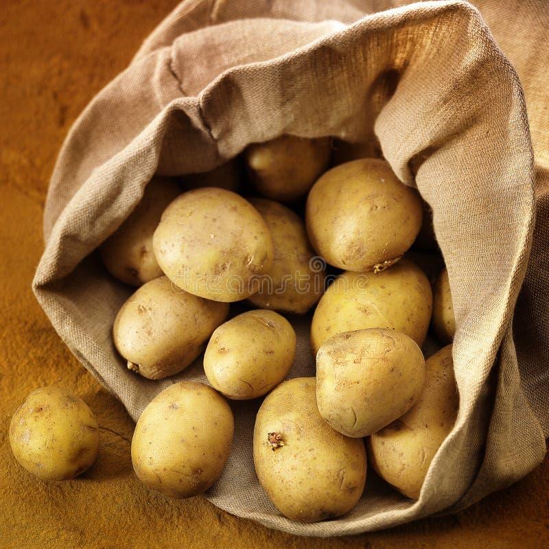 Overlopende zak van potatos royalty-vrije stock afbeeldingen