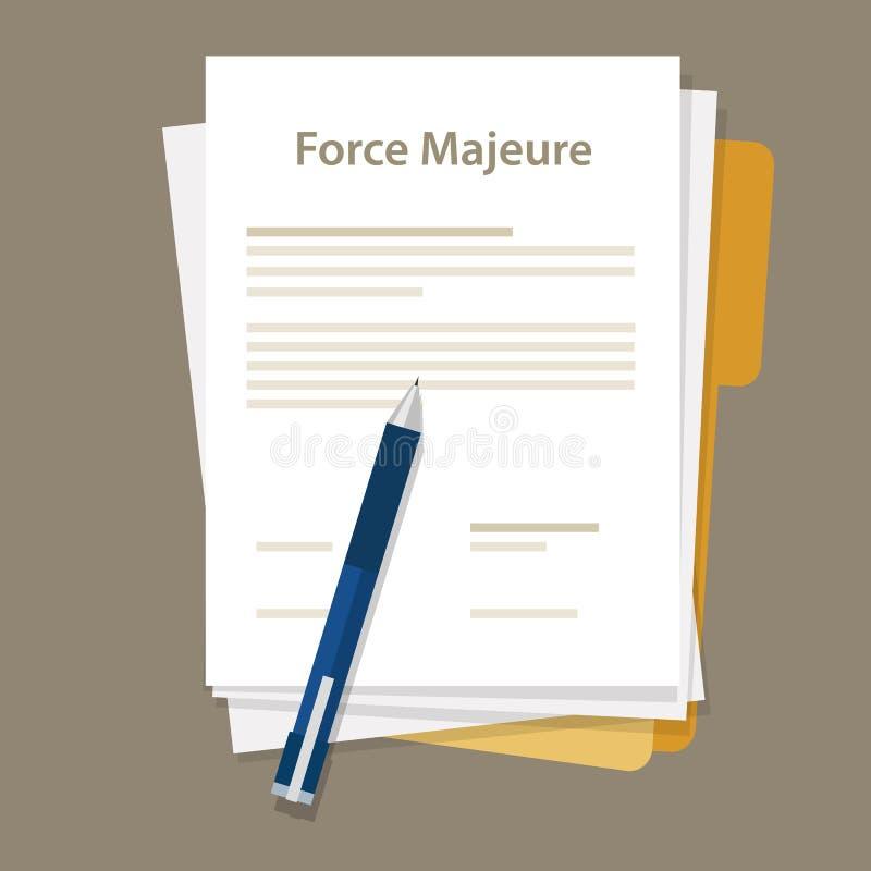Overmachtclausule inbegrepen in contracten om aansprakelijkheid voor onvermijdelijke catastrofes te verwijderen die deelnemers be stock illustratie