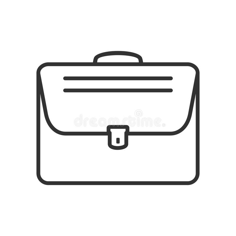Overnight Bag Outline Flat Icon on White. Small suitcase outline flat icon, isolated on white background. Eps file available stock illustration
