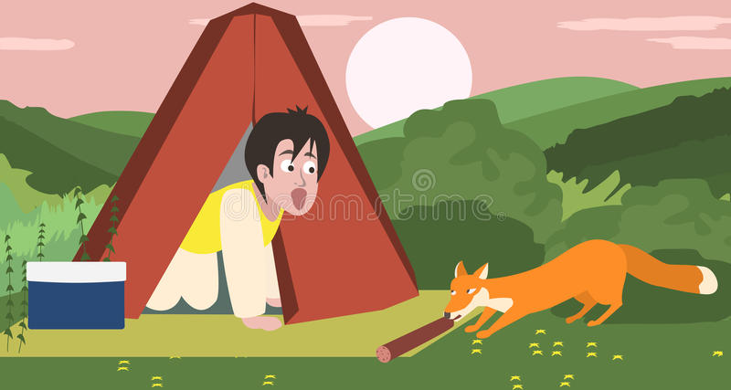 Overnight camping, fox stealing food. Funny colorful cartoon illustration royalty free illustration