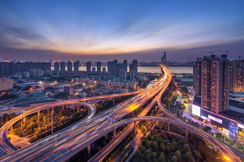 Overpass of the light trails, beautiful curves.wuhan Erqi yangtze river bridge at hubei province, China. stock photos