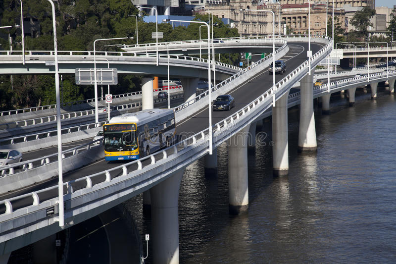 Overpasses, curves and slipways over the Brisbane stock photo