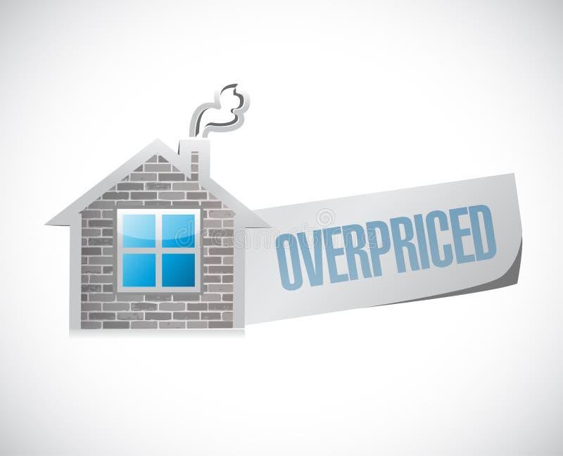 overpriced begrepp för husmarknadstecken stock illustrationer