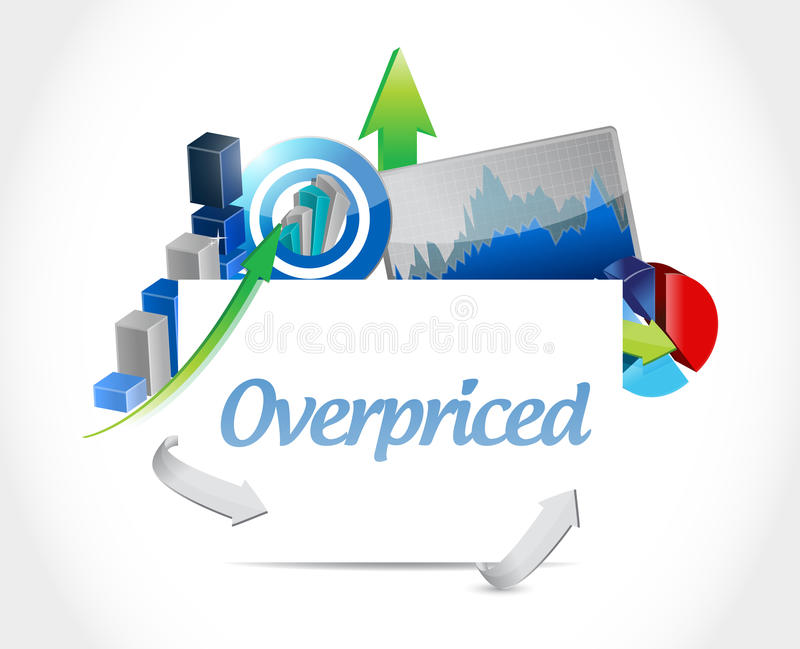 overpriced business chart board sign concept stock illustration