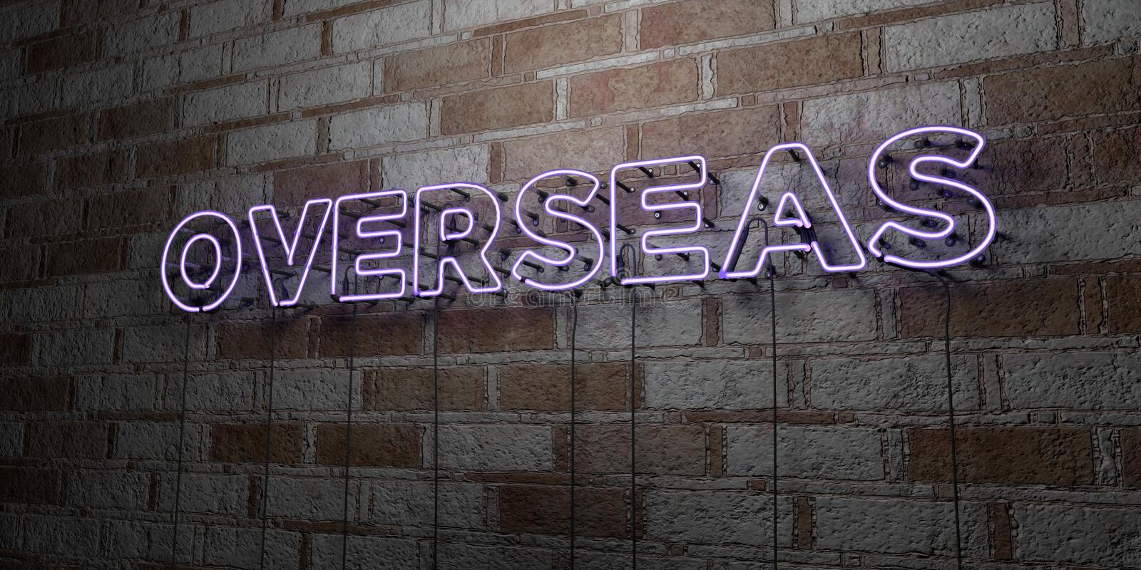 OVERSEAS - Glowing Neon Sign on stonework wall - 3D rendered royalty free stock illustration. Can be used for online banner ads and direct mailers stock illustration