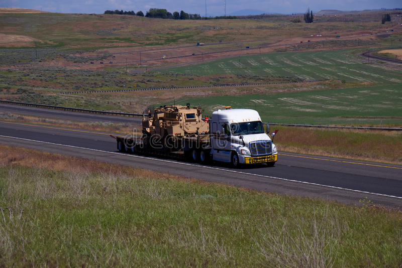 Oversize Load / Military Equipment. Oregon, USA royalty free stock photography