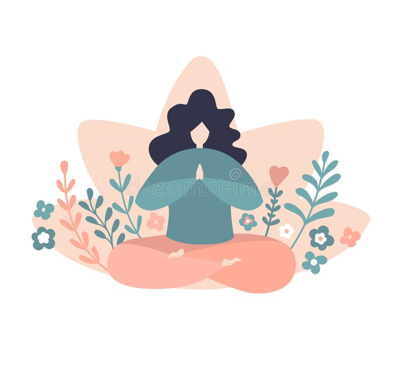 Oversized meditating woman in the yoga lotus position with doodle decorative flowers and plants. Cute vector illustration of an oversized meditating woman in the stock illustration