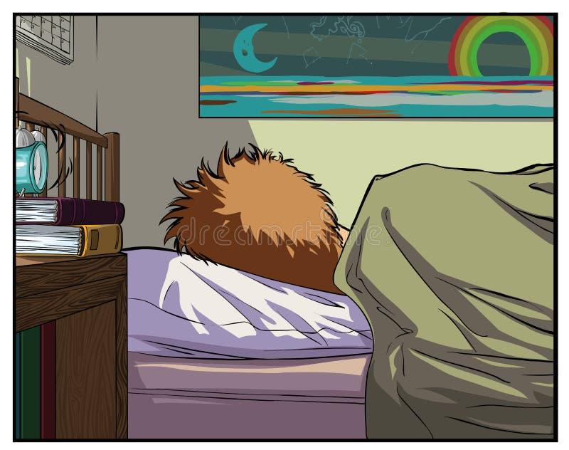 Oversleep man. Time to wake up. stock photography