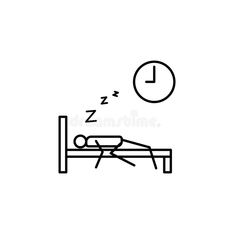 Oversleep work outline icon. Element of lazy person icon for mobile concept and web apps. Thin line icon oversleep work can be use. D for web and mobile on white stock illustration