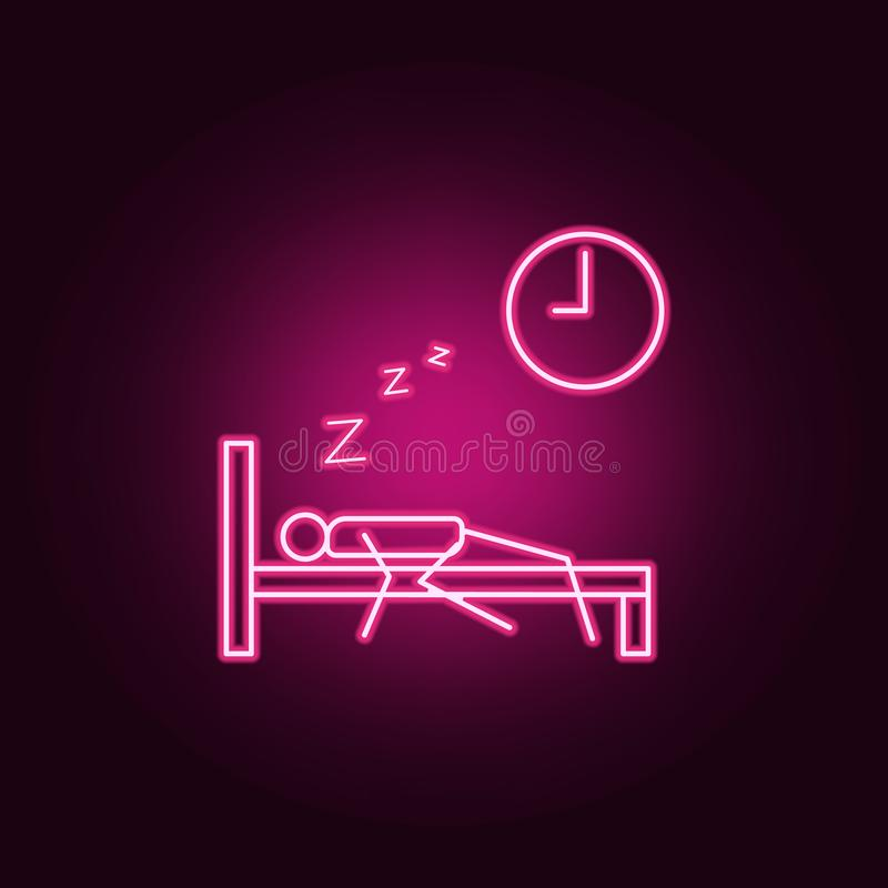 Oversleep work outline icon. Elements of Lazy in neon style icons. Simple icon for websites, web design, mobile app, info graphics. On dark gradient background royalty free illustration