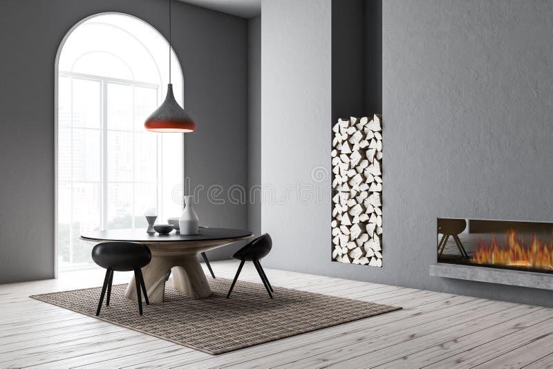 Overspannen grijze eetkamerhoek stock illustratie