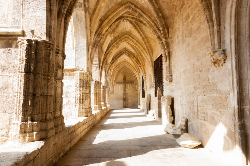 Overspannen klooster van historische Gotische architecturale Kathedraal Heilige stock afbeelding