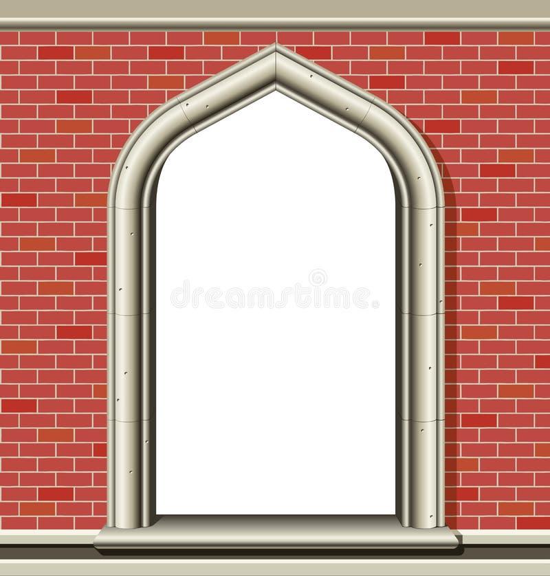 Overspannen venster, bakstenen royalty-vrije illustratie