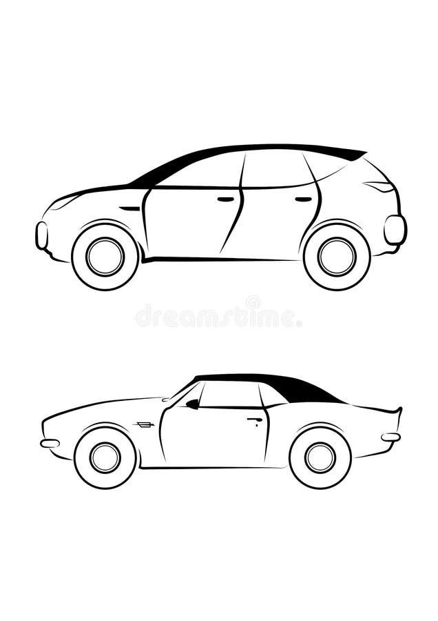 Oversteekplaats en sportwagen - het geïsoleerde pictogram van de overzichtsauto stock illustratie