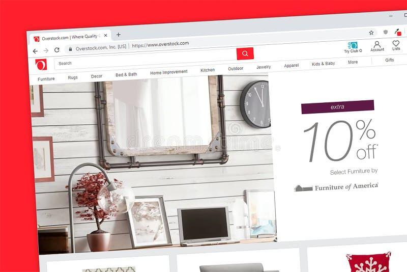 Overstock de homepage van de de detailhandelaarswebsite van Internet stock afbeeldingen