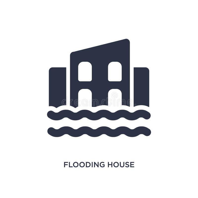 overstromend huispictogram op witte achtergrond Eenvoudige elementenillustratie van meteorologieconcept vector illustratie