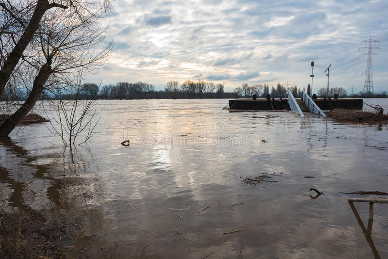 Overstroming in de winter op de Rijn met een brug en wrakstukken royalty-vrije stock foto's