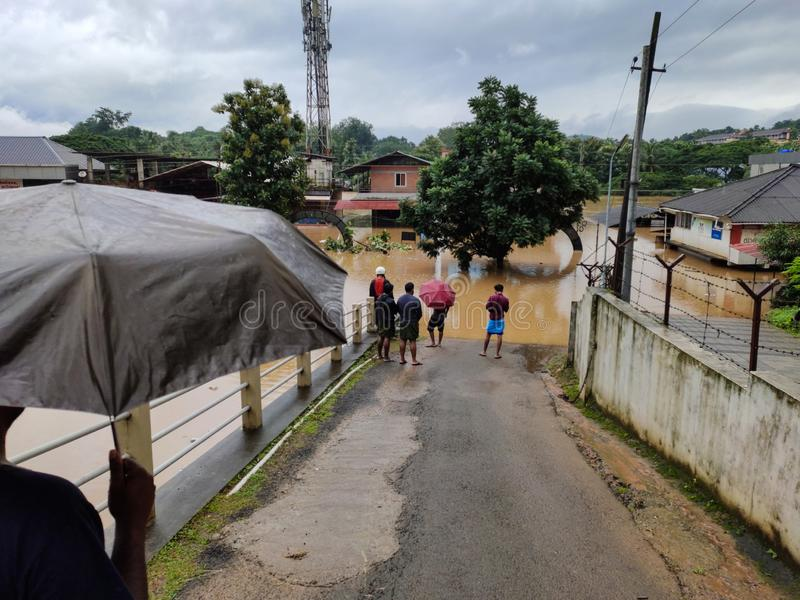 Overstroming in 2019 in Nilambur, Kerala stock foto