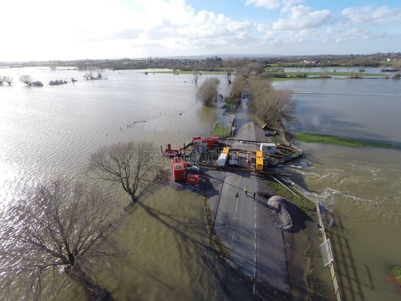 Overstroming op de Somerset-niveaus stock foto