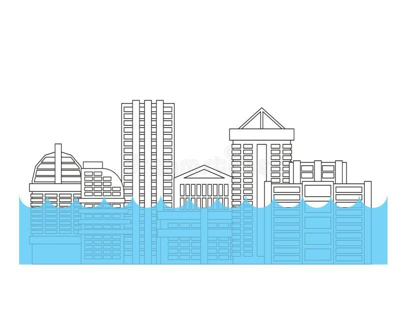 Overstroming in stad Vloed in stad Overstroomd huis Het inbouwen van wate royalty-vrije illustratie