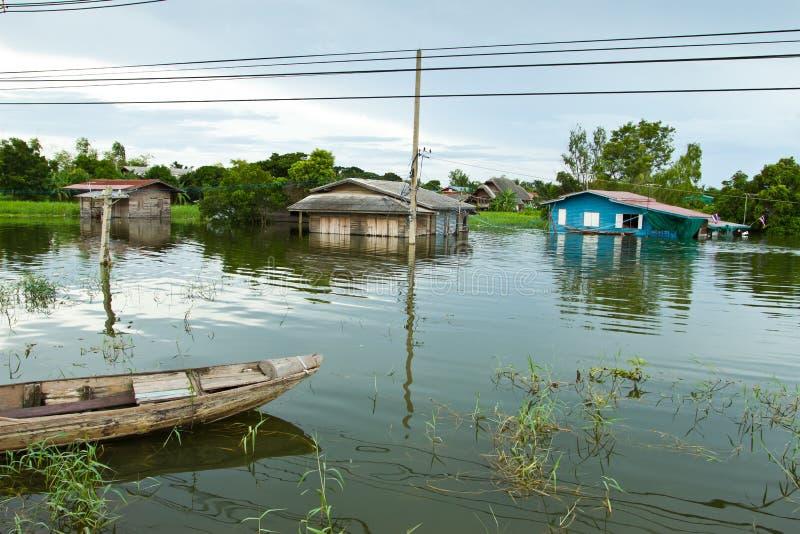 Overstroming in Thailand stock fotografie