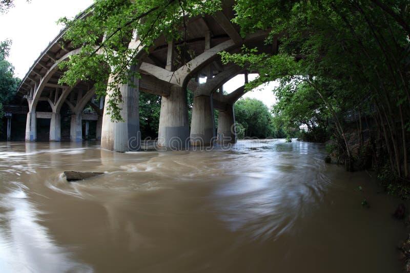 Overstroomd Barton Creek, Herdenkingsvloed in Austin Texas stock fotografie