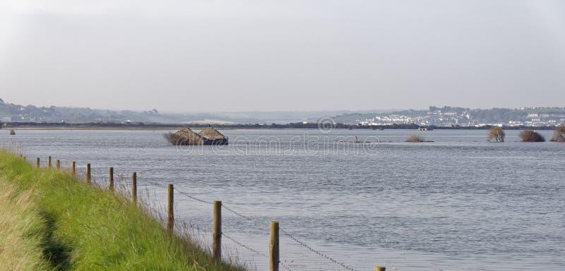 Overstroomde Horsey-Eiland & Rivier Taw stock fotografie