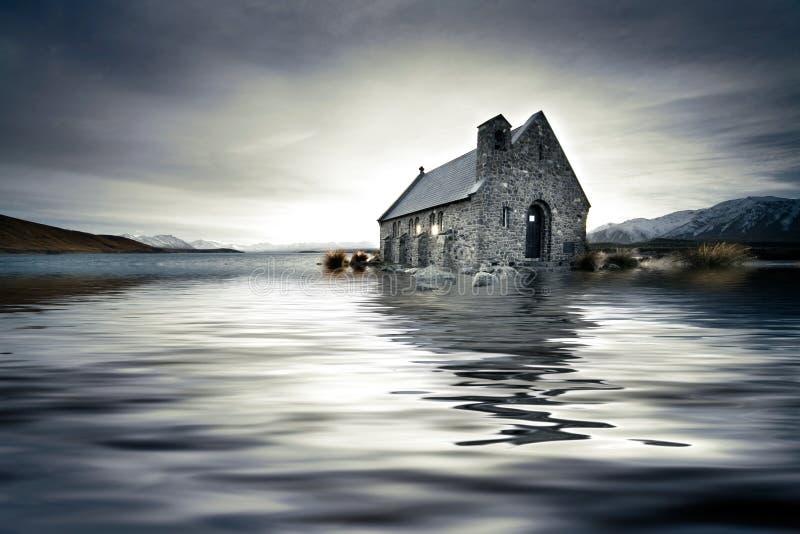 Overstroomde kerk stock fotografie