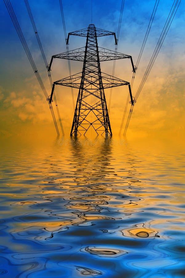 Overstroomde pyloon vector illustratie