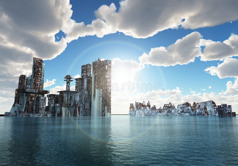 Overstroomde stad vector illustratie