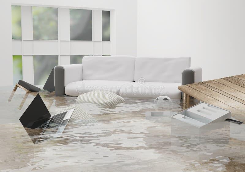 Overstroomde waterschade toe te schrijven aan overstroming in huis 3d-illustratio stock illustratie