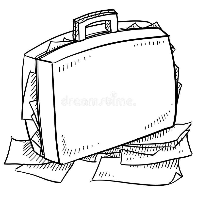 Overstuffed эскиз портфеля бесплатная иллюстрация