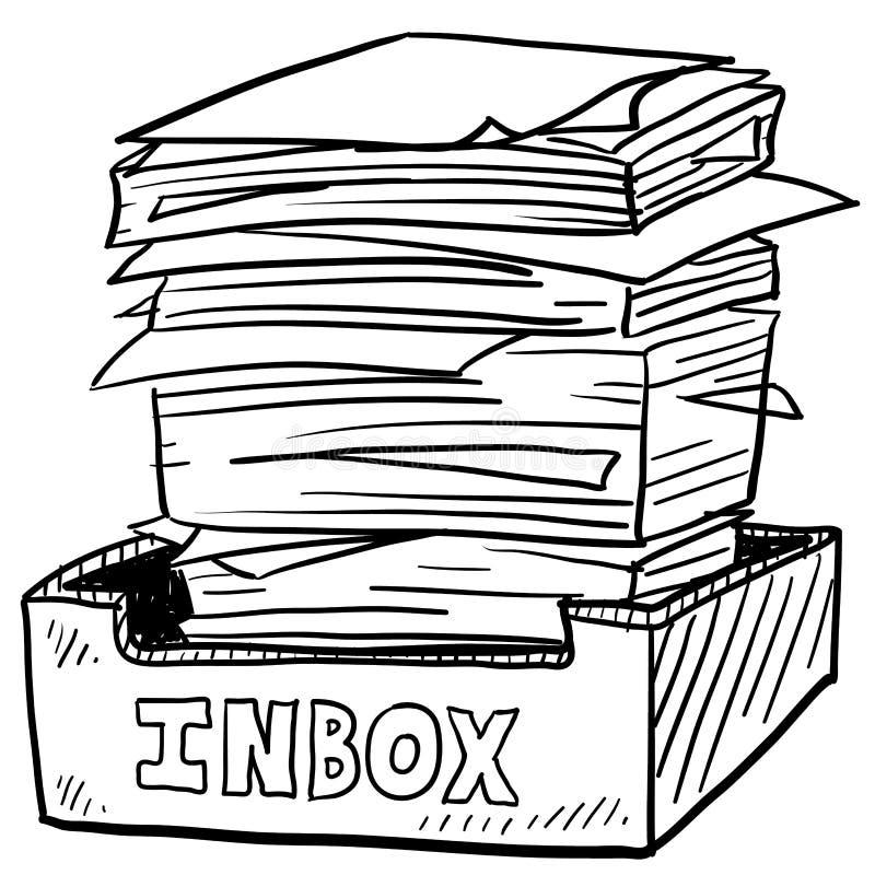 Overstuffed эскиз усилия работы inbox иллюстрация штока