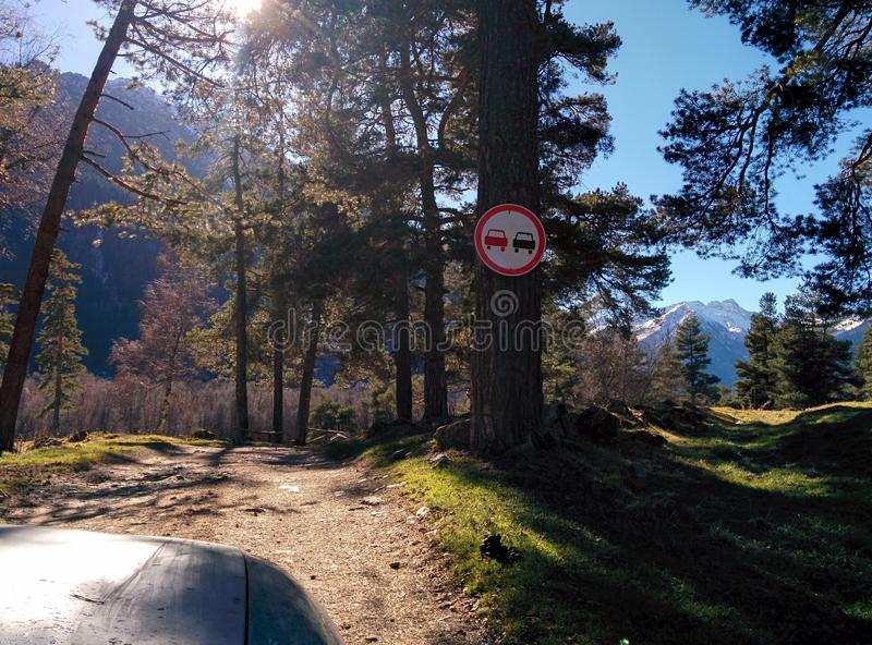 Overtaking is prohibited. Forest, symbol, travel, sun, park stock images