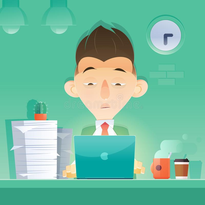 Overtime. Cartoon businessman working overtime late night in office. Vector and Illustration royalty free illustration