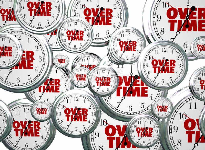Overtime Extra Added Bonus Work Clocks Flying vector illustration